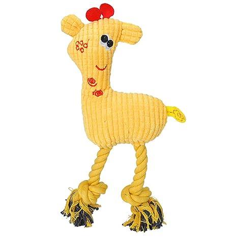 Emorias 1 Pcs Juguetes de Cuerda Perros Amarillo Jirafa Masticar Rascador para Gatos Morder Dientes Mascotas