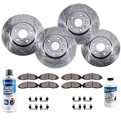 (Detroit Axle - All (4) Front and Rear Drilled and Slotted Brake Rotors w/Ceramic Pads & Brake Cleaner & Fluid for 2003 2004 2005 2006 Acura)