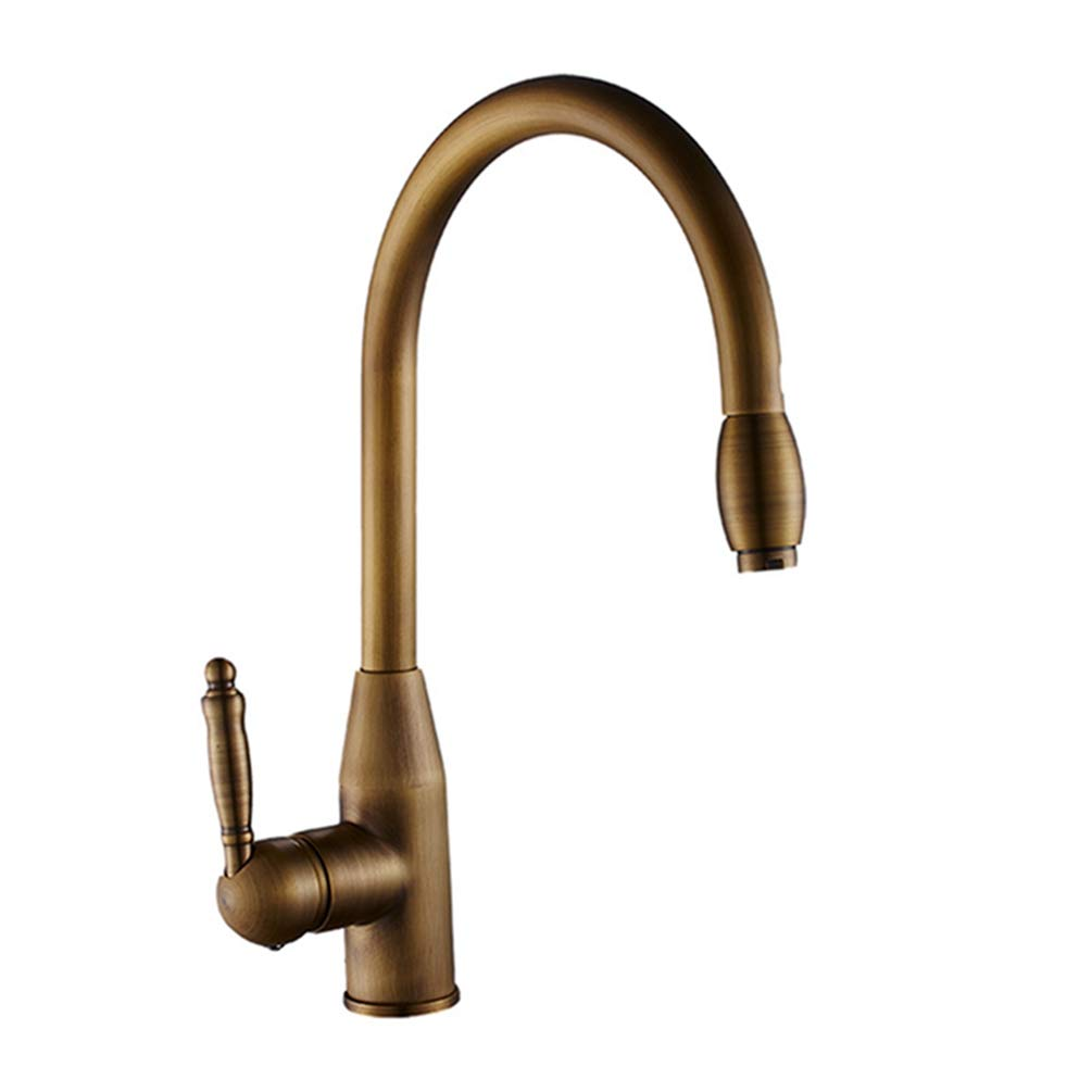 FZHLR Antique Brass Kitchen Faucet Pull Out Kitchen Sink Hot Cold Water Mixer Tap Single Lever Stream Sprayer Kitchen Faucet 360 Degree Swivel by FZHLR (Image #1)