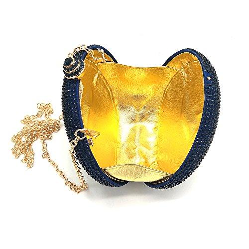 Aysemo Round Rhinestone Crystal Women Clutch Handbag Purse Hard Case for evening dress wedding prom- Round (Dark blue) (Jeweled Handbag Rhinestone)