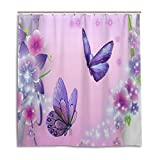 BAIHUISHOP Bathroom Shower Curtain With 12 Hooks Mildew Proof Polyester Fabric 66X72 Inch Butterfly Pattern