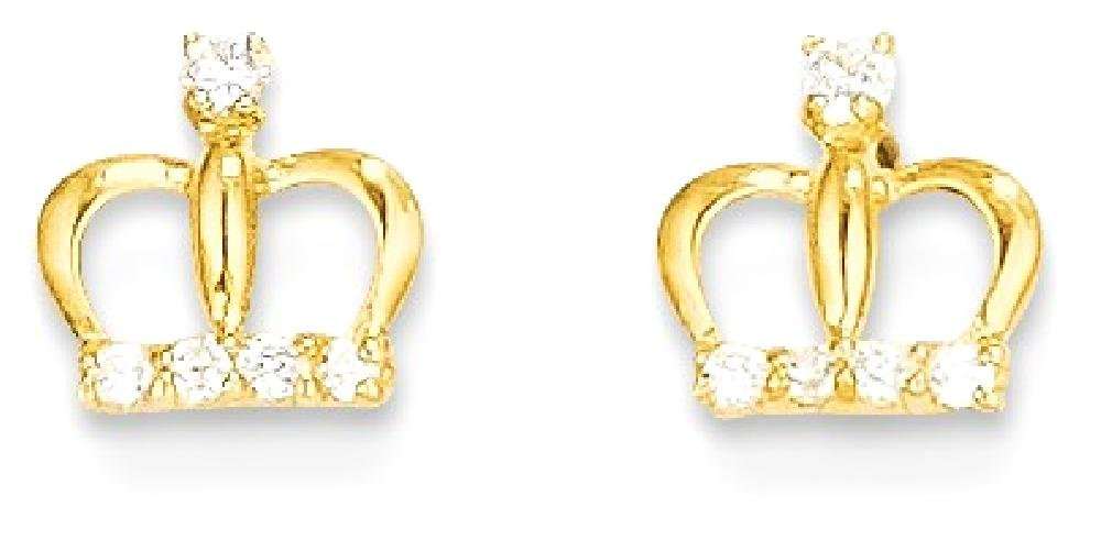 ICE CARATS 14k Yellow Gold Cubic Zirconia Cz Crown Post Stud Earrings Fine Jewelry Gift Set For Women Heart by ICE CARATS (Image #1)