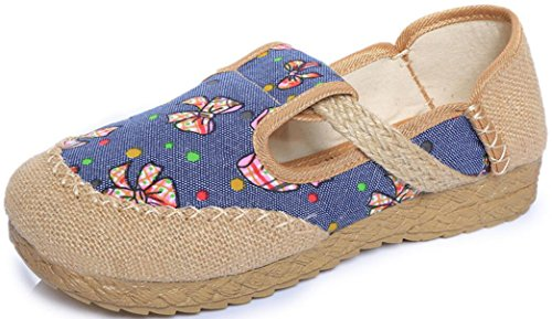 Satuki Broderade Skor För Kvinnor, Kinesisk Stil Handgjorda Tillfällig Dagdrivaren Platt Finskor Blå