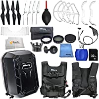 Accessory kit for DJI Phantom 4 includes Hard-Shell Backpack + 2 Pairs of Carbon Fiber Propellers + 2 Pairs of White Propeller Blades + 32GB SD Memory Card + High Speed Card Reader & More!