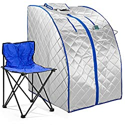 Durasage Infrared IR Far Portable Indoor Personal Spa Sauna with Heating Foot Pad and Chair, X-Large, Silver