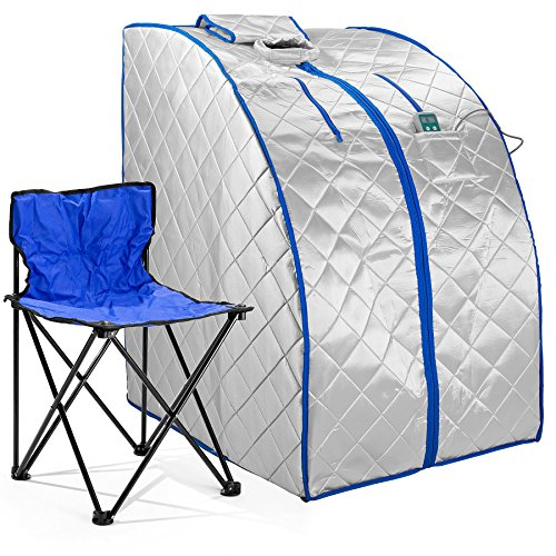 Durasage Infrared IR Far Portable Indoor Personal Spa Sauna with Heating Foot Pad and Chair, X-Large, Silver (Emf Free Sauna Infrared)