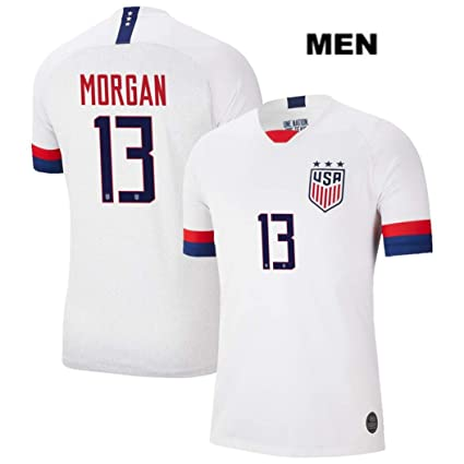 new concept 739a0 c60bb ZZXYSY Alex Morgan #13 2019 Women's World Cup USWNT Men's Home Soccer  Jersey/Short Colour White