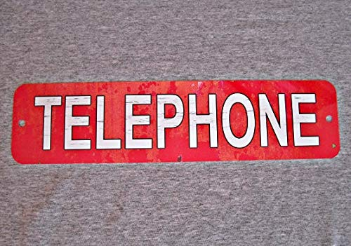 (SWQAA Metal Sign Telephone Public Pay Coin Vintage Replica Phone Booth Prop Rotary Push Button Garage Man cave Wall Plaque)