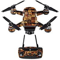 Skin for DJI Spark Mini Drone Combo - Stacked Wood| MightySkins Protective, Durable, and Unique Vinyl Decal wrap cover | Easy To Apply, Remove, and Change Styles | Made in the USA