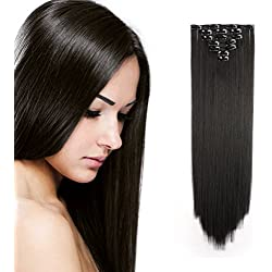 "Onedor 24"" Straight Synthetic Clip in Hair Extensions. 7 individual pieces for multiple styles.140g (4#-Dark Brown)"