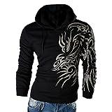 Hzcx Fashion Men's Dragon Printed Long Sleeve Pullovers Juniors Hoodies SJXZ1809-W03-25-B-US M TAG XL