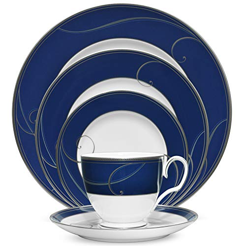 Noritake Platinum Wave Indigo 5-Piece Place Dinnerware Setting in Blue/White