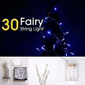 LIDORE 30 Counts LED Mini String Lights. Blue Color. Best Gift for Decoration. Battery Operated.