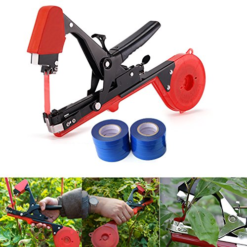 Grape Fix (JOYOOO 2018 Newest vineyard tool Garden Vine Tying Tape Plant Tying Machine Agriculture Tapener Hand Tying Machine fix the vine plant such as tomato, cucumber, ect 10 rolls tape+1 staples +Tying Tool)