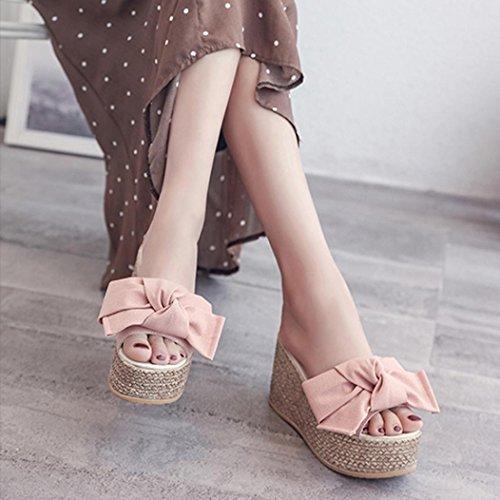 Dolcetti con della Basse Solido Colore SOMESUN Puro Pelo delle Scarpe Fondo Zeppa del Pendenza Modo Piattaforma Spessore di Sandali dei Piatte e Pink Donne OqTxqwH5