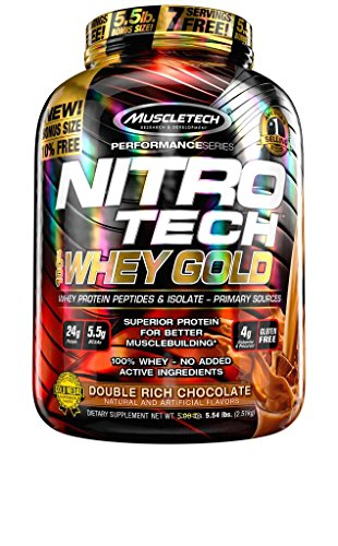 MuscleTech NitroTech Whey Gold, 100% Pure Whey Protein, Whey Isolate and Whey Peptides, Double Rich Chocolate, 5.53 Pounds