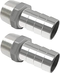 Horiznext stainless steel barbed fitting 1 inch id barb hose connector male npt 1 coupler, pack of 2 pcs