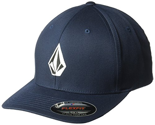 Volcom Young Men's Volcom Men's Full Stone Flexfit Stretch Twill Hat Hat, -Navy, L/XL Stone Stretch Twill