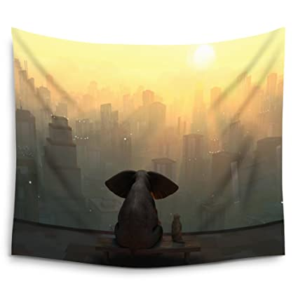 Amazon.com: Mugod Elephant Tapestry Elephant And Dog Sit On The Roof ...