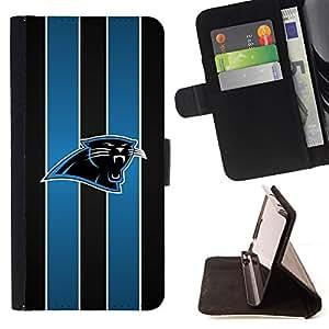 BullDog Case - FOR/Sony Xperia Z2 D6502 / - / Carolina Panther Football American /- Monedero de cuero de la PU Llevar cubierta de la caja con el ID Credit Card Slots Flip funda de cuer