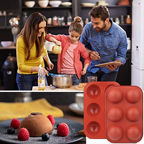 3 Pack 6 Holes Semi Sphere Chocolate Molds, BPA Free Silicone Baking Mold for Making Hot Chocolate Bombs, Cake, Jelly, Dome Mousse(Brick red)