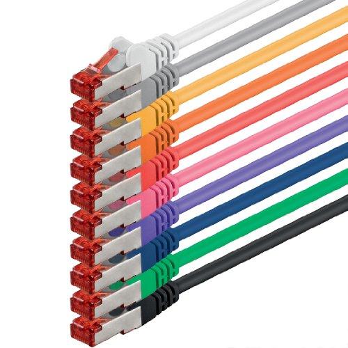 1aTTack.de® CAT.6 network cable set, 2 m, 10 colours, ethernet / LAN / internet cable, DSL / RJ45 connector, 10 Mbit/s, 100 Mbit/s, 1000 Mbit/s, patch cable, CAT 6, S-FTP, double shielded, PIMF, compatible with CAT 5, CAT 6a, CAT 7, for switch, router, modem, patch panel, access point, patch fields
