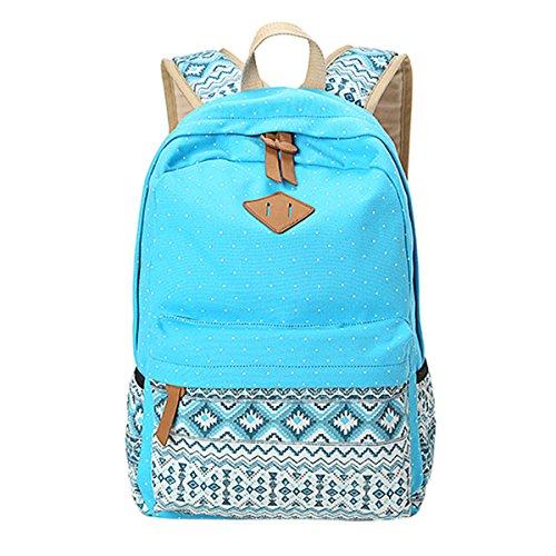 ABage Girl's Canvas Backpack Lace Floral Lightweight Bookbag Laptop School Backpacks, Laker Blue2