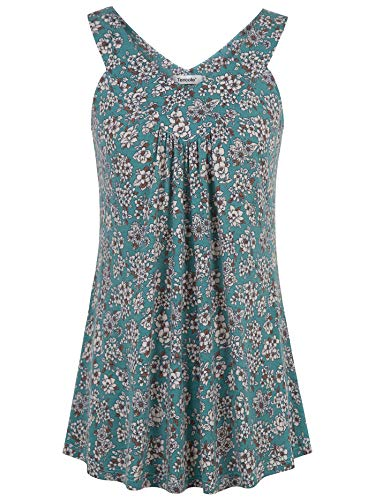 Green Flower Tank Top Shirt - Tencole Dressy Tank Tops for Women, Womens Summer Loose Pleated Camisole Elasticity Flowy Bottom Prime Wardrobe Tailored Cotton Office Blouses Sweatheart Neck Sleeveless Duster Vest Long Tunic Shirts