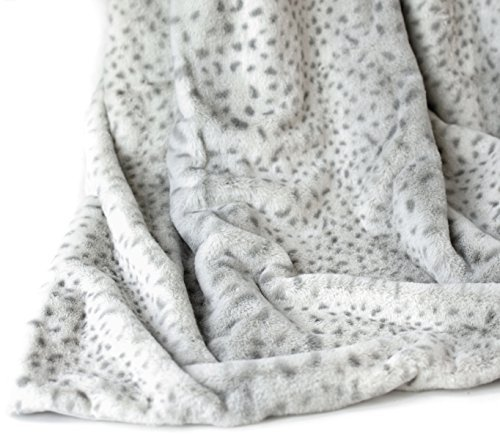 w by Cynthia Rowley, Ultra Soft Plush Blanket in Brown Taupe Stripe or Snow Leopard Print (Ivory) (Snow Leopard Bedding)