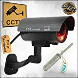 Fake Camera. Dummy Security Black Metal Look CCTV w/Realistic Simulated LEDs, Blinking Red Light For Night. Waterproof Outdoor & Indoor. Best Surveillance Choice at Home Shops Business! Life Warranty
