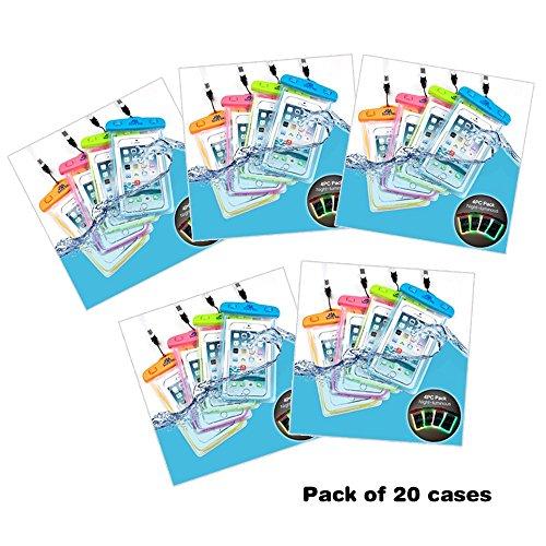 Sunny Tag Glow in Dark-Floating Waterproof Universal Phone Dry Bag Case, 20-Pack Blue, Green, Pink, Orange