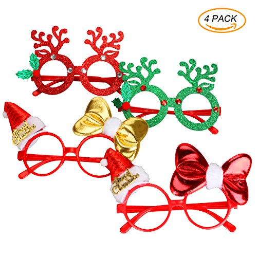 4Pcs Christmas Glasses Costume Party Eyeglasses,Xmas Holiday Accessories,Christmas Party Favors for Holiday Christmas - Christmas Eyeglasses