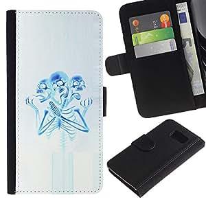 Be-Star la tarjeta de Crédito Slots PU Funda de cuero Monedero caso cubierta de piel Para Samsung Galaxy S6 ( Skeleton Praying Blue White Spooky )