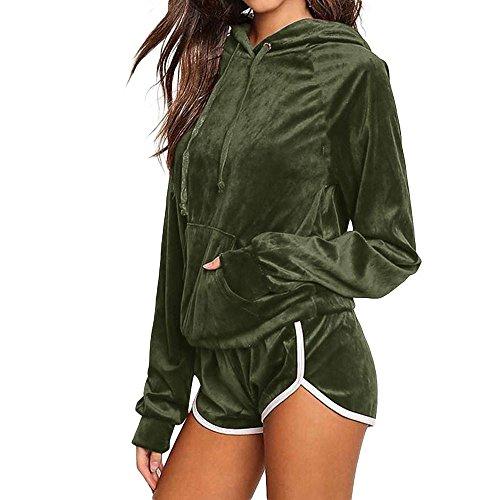 Mysky Women Casual 2 Pieces Velvet Fleeced Hoodies Sweatshirt Shorts Sport Tracksuits Sets (Cashmere Track Jacket)