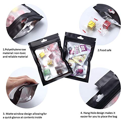 Beilecy 120 Pcs Smell Proof Bags Resealable Foil Pouch with Matte Clear Window and Euro Hang Hole Odorless Mylar Bags Heat Seal Pouch Food Safe Storage, Airtight Ziplock, Matte black,4 Size