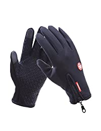 Unisex Touch Screen Windproof Waterproof Outdoor Sports Winter Cycling Gloves (L, Black)