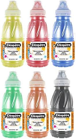 Cleopatre - EAD250NX6A - Lote de tinta de dibujo - 6 frascos de 250 ml con vaporizador - Tintas nacaradas: Amazon.es: Hogar