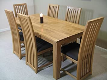 light solid oak dining room table and 6 chair set 014 amazon co rh amazon co uk