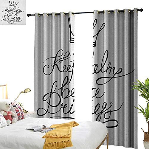 Decor Curtains Keep Calm Be a Princess Motivational Romantic Quote with Hand Letters Save The Date Print Noise Reducing W120 x L84 Black White (Fleur De Lis Save The Date Magnets)