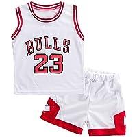 Angel ZYJ Niño Michael Jordan # 23 Chicago Bulls Retro Pantalones Cortos de Baloncesto Camisetas de Verano Uniformes y…