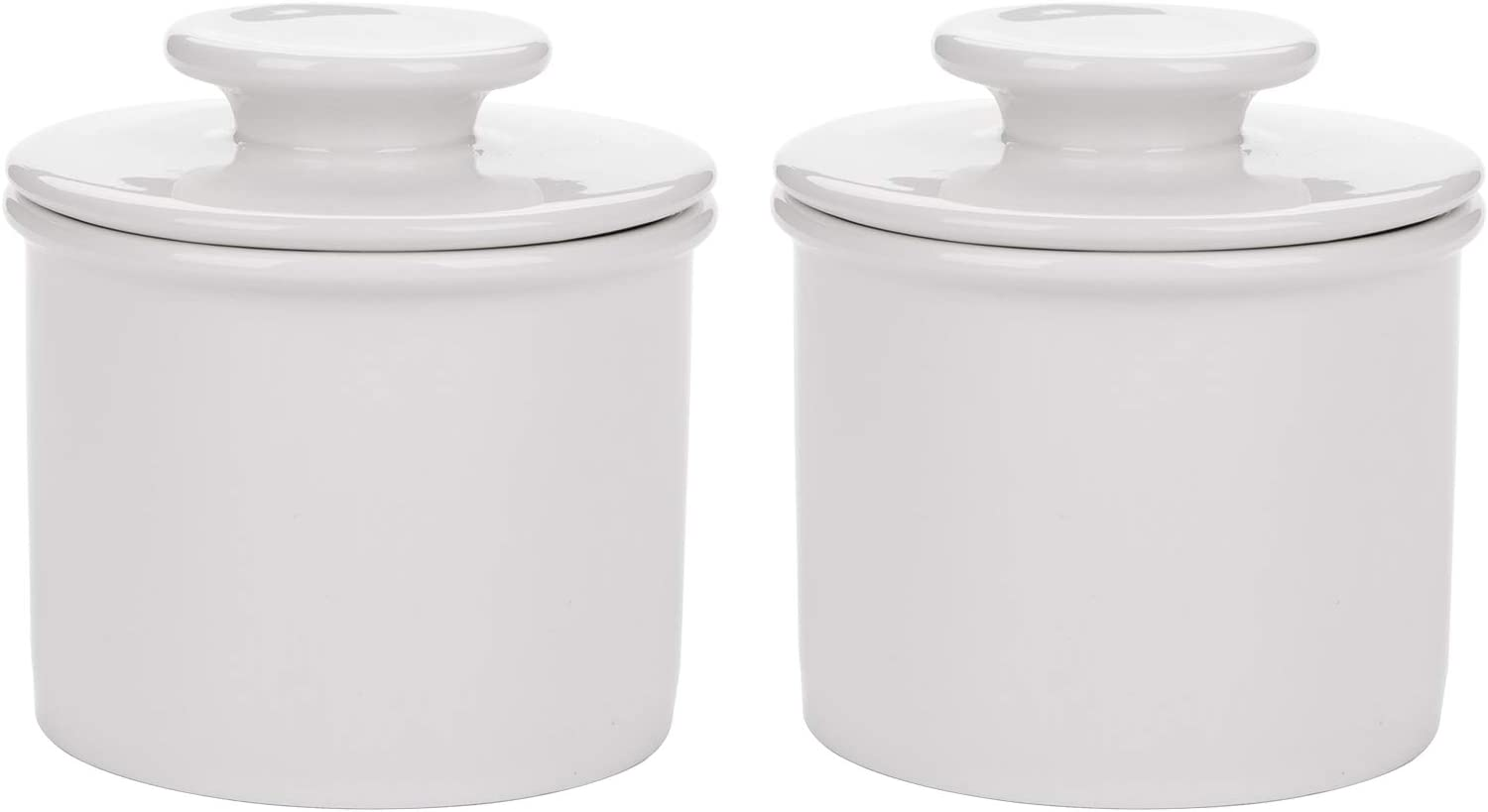Bekith 2 Pack Porcelain Butter Keeper Crock, French Ceramic Butter Dish with Lid, Embossed Butter Container for Soft Butter, White