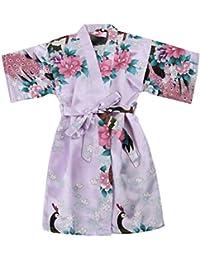 WonderFit Girls Stain Kimono Peacock Flower Robe for Spa Wedding Birthday Light Purple 7-8