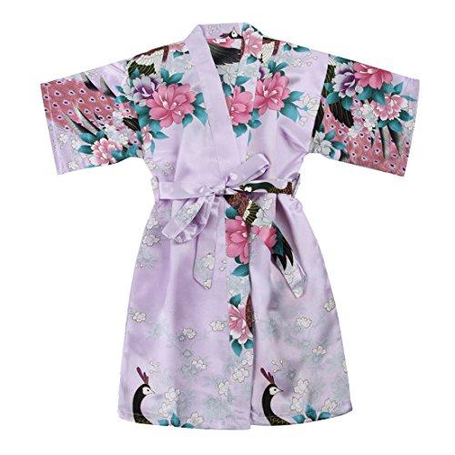 WonderFit Girls Stain Kimono Peacock Flower Robe for Spa Wedding Birthday Light Purple 5-6Y