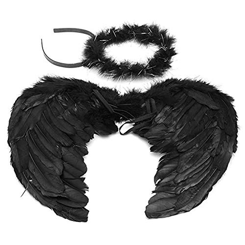 Angel Wings and Halo Headband for Kids Costumes Feather Dress up Fancy Cosplay Party for Girls Women (Black-Small 17.7