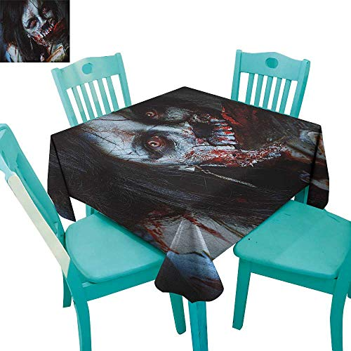 longbuyer Zombie,Dinning Tabletop Decor,Scary Dead Woman with a Bloody Axe Evil Fantasy Gothic Mystery Halloween Picture,36