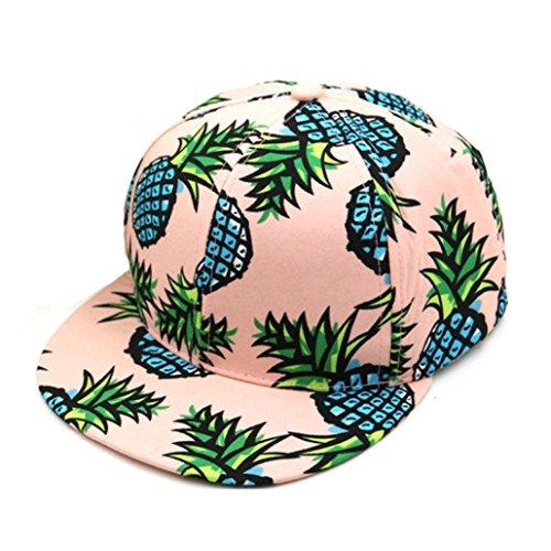 (Perman Pineapple Snapback Bboy Hat Adjustable Baseball Cap Hip-hop Hat Unisex (One size, Pink))