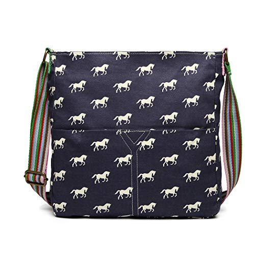 (Miss Lulu Messenger Bag School Bag Horse Canvas Crossbody Satchel Shoulder Bag for Women Girls (1104 Navy) )