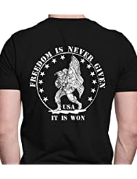 "<span class=""a-offscreen"">[Sponsored]</span>Freedom is never given, it is won. Military . Port & Co. T-Shirt"