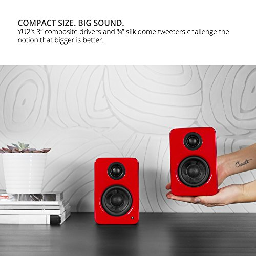 "Kanto 2 Channel Powered PC Gaming Desktop Speakers – 3"" Composite Drivers 3/4"" Silk Dome Tweeter – Class D Amplifier - 100 Watts - Built-in USB DAC - Subwoofer Output - YU2GR (Gloss Red)"