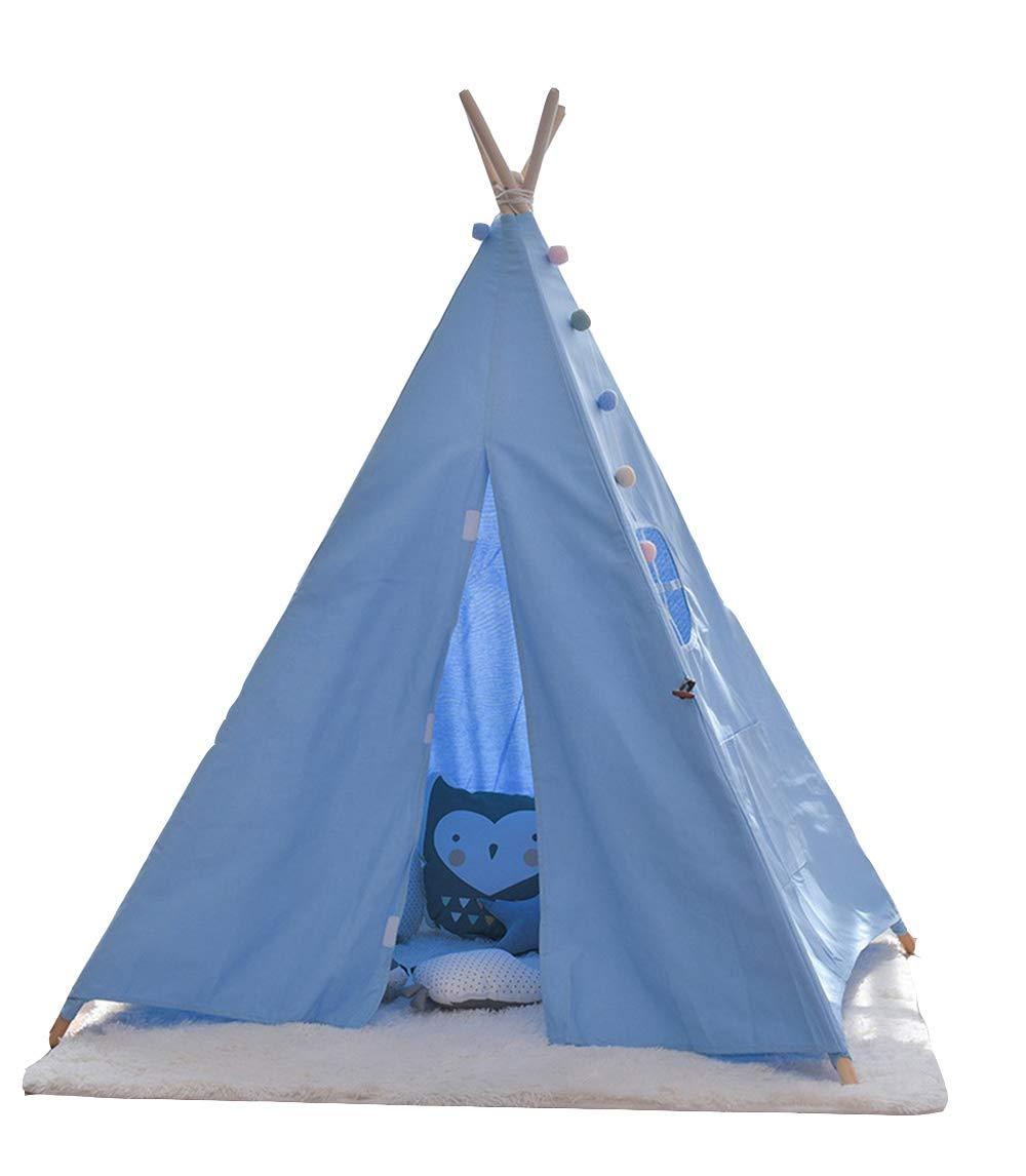 Plgga Tipi Zelt Für Kinderkabine Spielhaus Indischen Zelt Stil Weicher Baumwolle Leinwand Geeignet Für Home Party Garten Outdoor (140X120x120cm Für 1-2 Personen Blau)